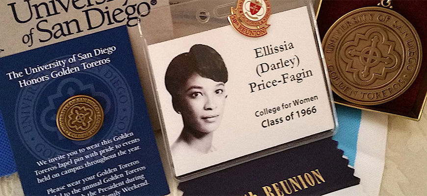 Ellissia (Darley) Price-Fagin, a 1966 alumna of the San Diego College for Women is considered to be USD's first Black female graduate.  She earned a BA in sociology.