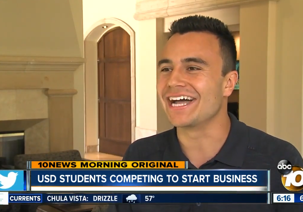 USD student, Dane Baker, speaks to ABC10 San Diego about his startup company Gigglr