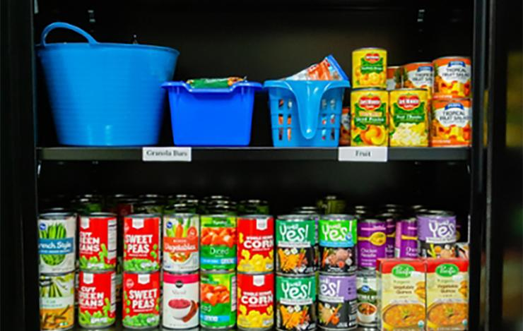 Food Pantry in the Hahn University Center supports students with food insecurity.