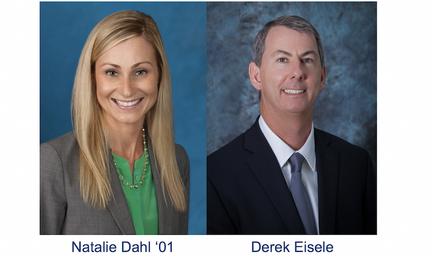 Natalie Dahl '01, managing director of CBRE San Diego and Derek Eisele, executive officer and director of Silvergate Bank and its parent company Silvergate Capital Corporation