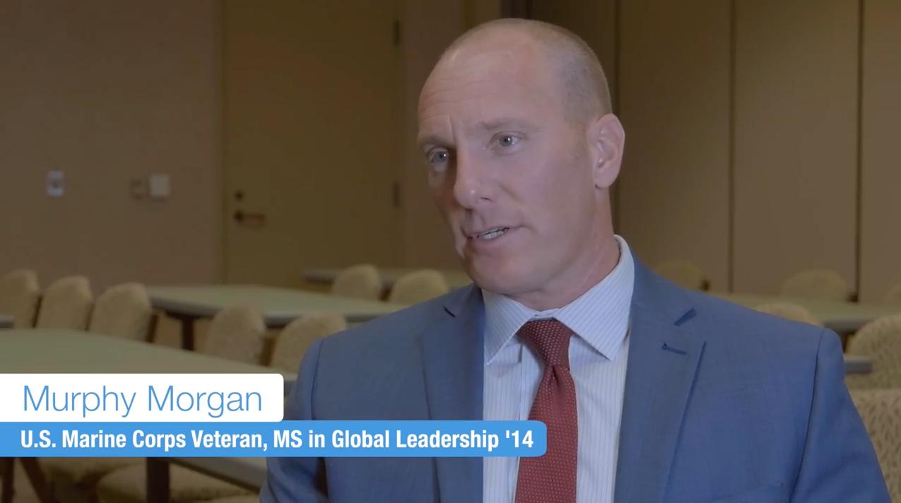 Headshot of Murphy Morgan, U.S. Marine Corps Veteran, MS in Global Leadership '14