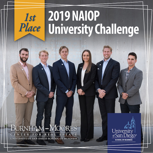 2019 USD School of Business NAIOP Team pictured below (from left to right) Alex Baracchini '19, Alex Spangler '19, Zachary Burns '19, Claire Hunn '20, Ryan Todd '19, Mitch DiLorenzo '19
