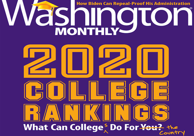 Purple Washington Monthly magazine cover with 2020 rankings info