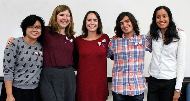 Mu Phi Epsilon 2017-2018 Board Members.  From left to right: Elizabeth Tin-Maung, Alexandra Annen (President), Kiera McNeill, Jonathan Bidinger, and Pooja Adigopula.