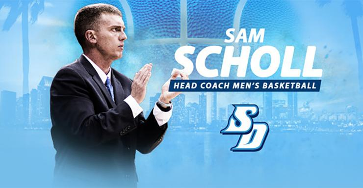 Sam Scholl, a USD alumnus, basketball player, assistant coach and most recently acting head coach, will be introduced on April 3 as the USD men's basketball program's 13th head coach.