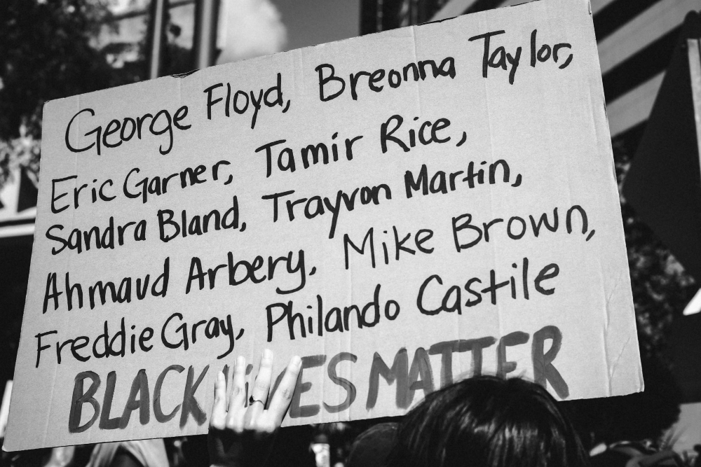 """black lives matter"" sign"