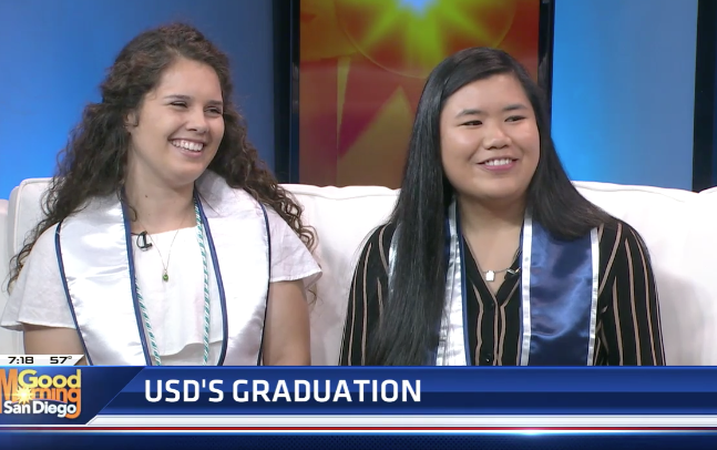 USD alumni Mary Powell '19 and Angelica Ignacio '19 smile while being interviewed on Good Morning San Diego