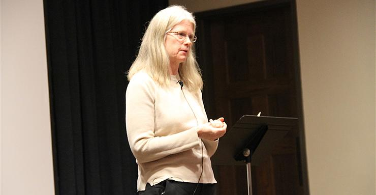 Kate Hennessy, the youngest granddaughter of journalist-activist and co-founder of the Catholic Worker Movement, Dorothy Day, spoke at USD on March 14 in support of a book about Day's life.