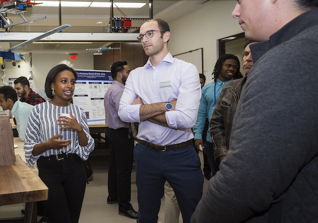 USD engineering students discuss their projects during a showcase