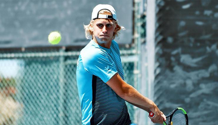 David Norfeldt's singles win in a USD men's tennis match against Pepperdine clinched a 4-2 team win on April 14.
