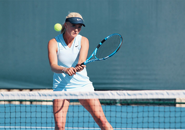 USD women's tennis team snapped an 11-match losing streak against USC on Feb. 22. USD won 4-1.