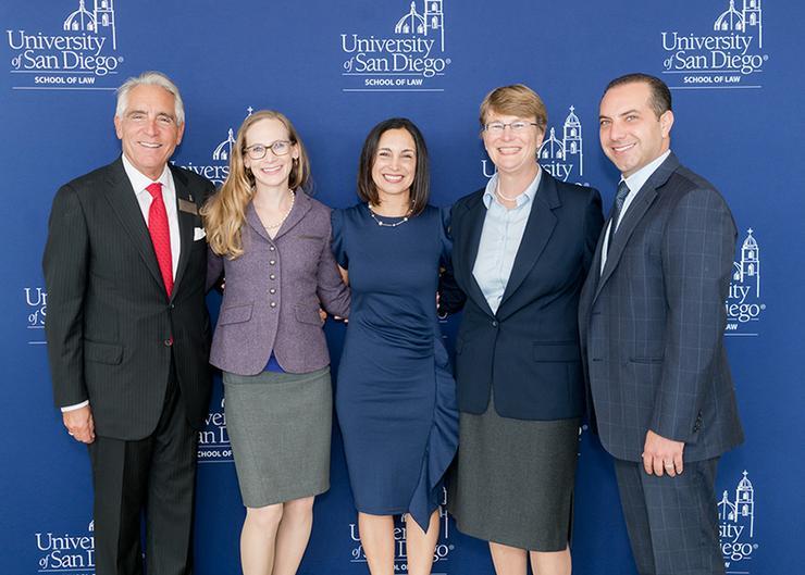 Dean Stephen C. Ferruolo (left) with the 2017 Distinguished Alumni Award Honorees (from left to right) Abigail Stephenson, Carolina Bravo-Karimi, Angela Bartosik, and  Ronson Shamoun.