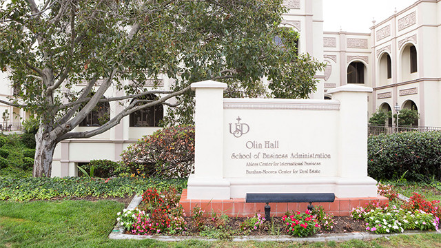 Entrance to the University of San Diego business school at Olin Hall. Courtesy USD