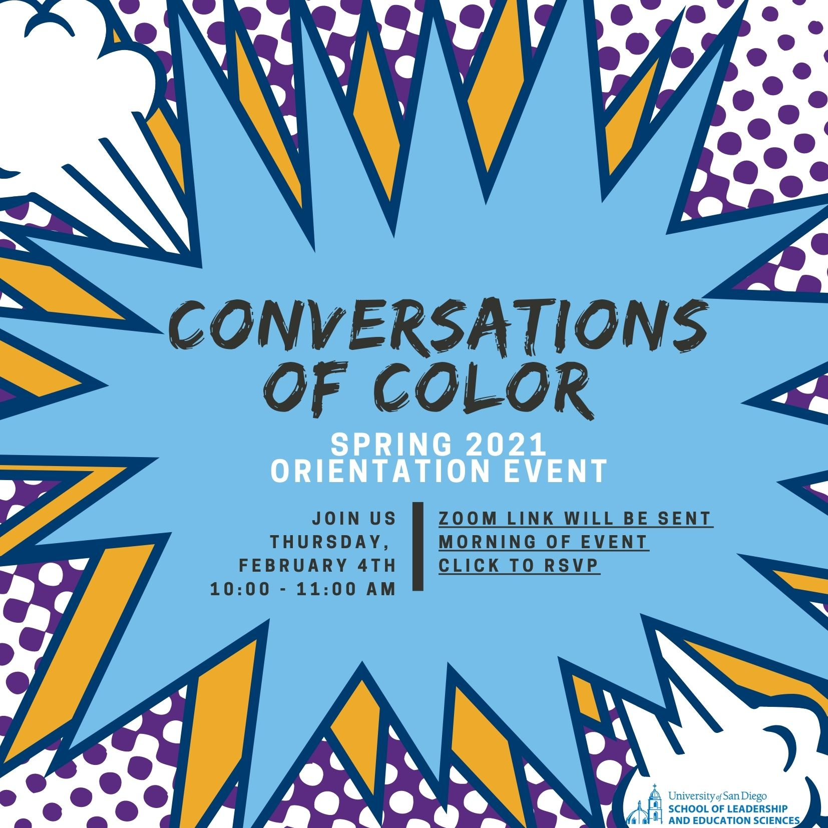 Conversations of Color Orientation Event Flyer 2/4/2021 10-11 AM