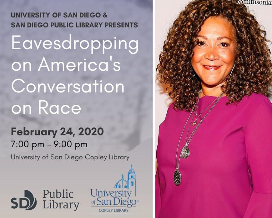 "Michelle Norris will be on the USD campus, Monday, Feb. 24 for an event hosted by Copley Library. Her talk is titled, ""Eavesdropping on America's Conversation on Race."""