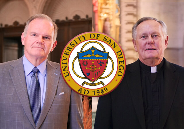Tiled image of President James Harris and Monsignor Daniel Dillabough