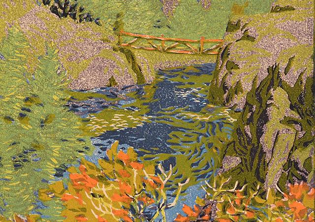 Detail of Gustave Baumann woodcut Rio Pecos