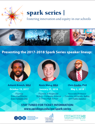Presenting the 2017-2018 Spark Series Lineup, information in the text above with pictures of each of the three speakers listed