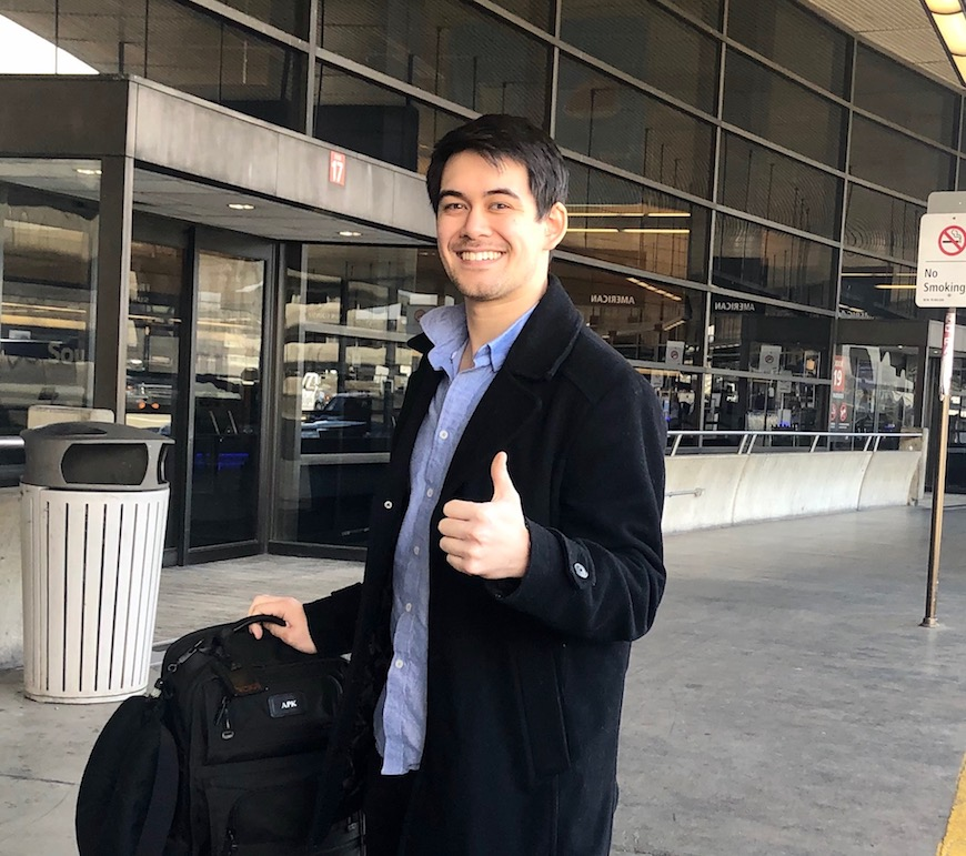 Adam Krebs '15 at the SEA-TAC airport getting ready to fly to Indiana where he and his Ventec Life Systems team are working with General Motors to increase production of critical care ventilators.