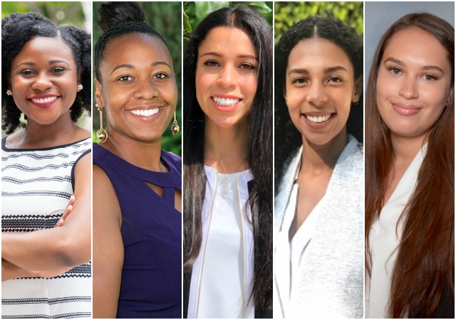 Scholarship recepients Alexandria Pritchett (3L), Monet McCord, '20 (JD), Megan Divine (3L), Adrielli Ferrer (2L), and Kendall McKee (2L).