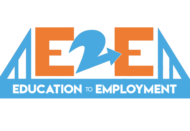 e2e logo with e2e in between a bridge with the words education to employment