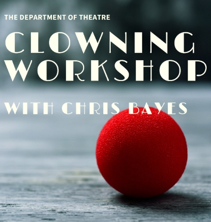 clowning workshop flyer with red nose prop