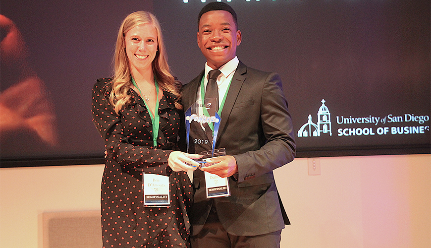 Bria d'Amours and Carl Olivier-Dumesle, MBA students and top winners in the 2019 Fowler Business Concept Challenge, answered questions and gave advice at the USD Legacy Entrepreneurship Conference.