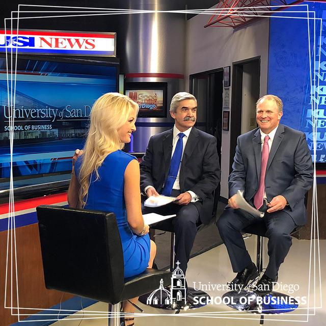 USD School of Business Dean Jaime Gomez and Associate Dean for Undergraduate Programs Stephen Conroy interviewing at the KUSI news station