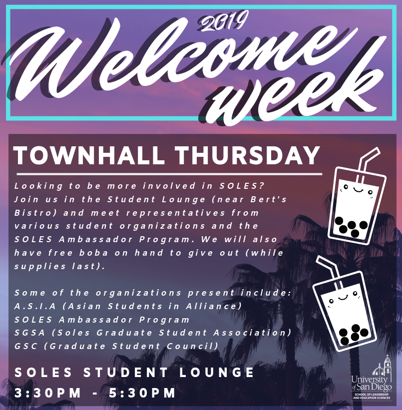 Townhall Thursday is happening on September 12th at 3:30pm at the SOLES Student Lounge