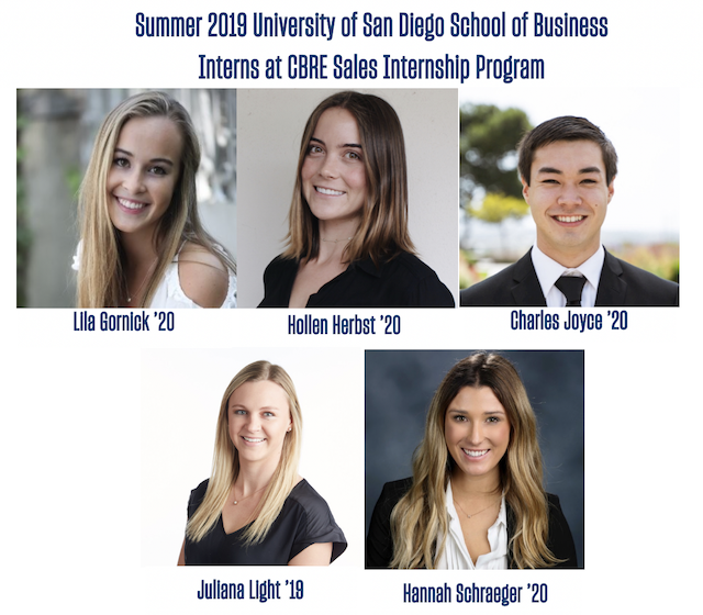 CBRE Summer Real Estate Interns from the University of San Diego School of Business