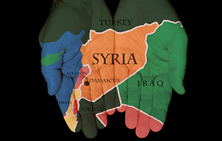 hands with map of syria overlayed