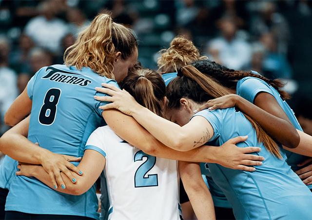 The USD women's volleyball team battled No. 2 Nebraska tough, but fell in a five-set match on Sept. 7.