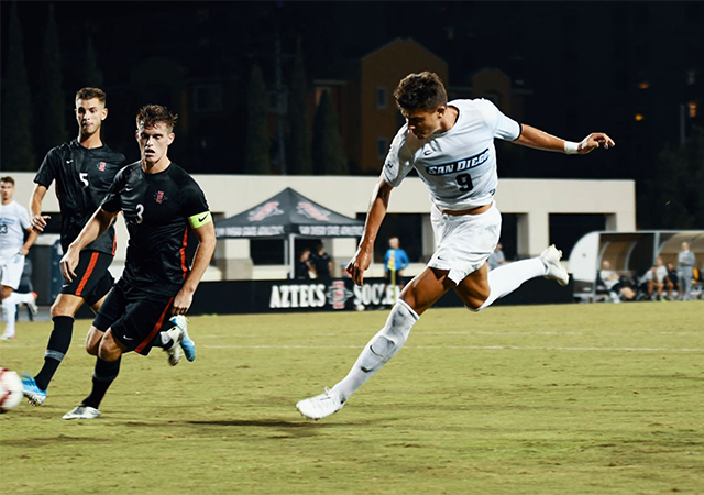 Miguel Berry scored twice, including the game-winning goal at San Diego State.
