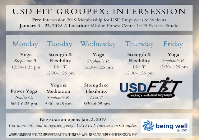 Intersession 2019 USD FIT GroupEx Schedule of Classes