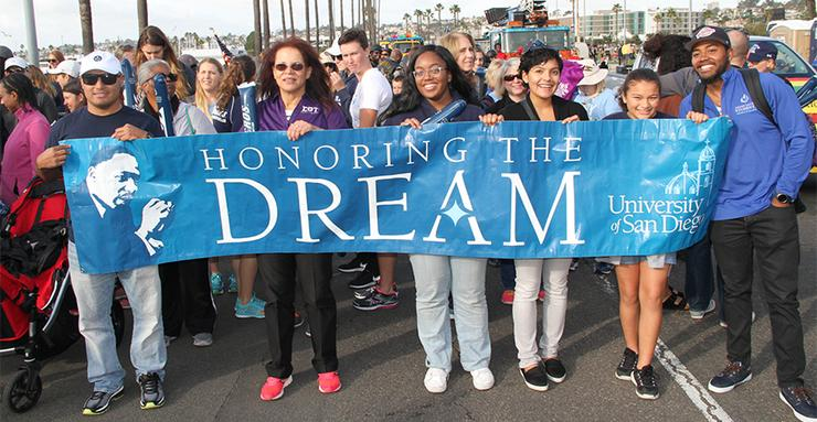 Join University of San Diego students, staff, parents, alumni and friends as we march to pay tribute during downtown San Diego's annual Martin Luther King Jr. Parade on Sunday, January 14 at 2 p.m.