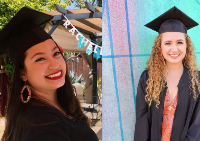 two women in graduation caps smiling