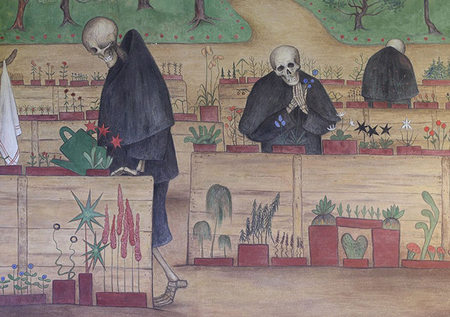 Painting of skeleton watering cactus plants.