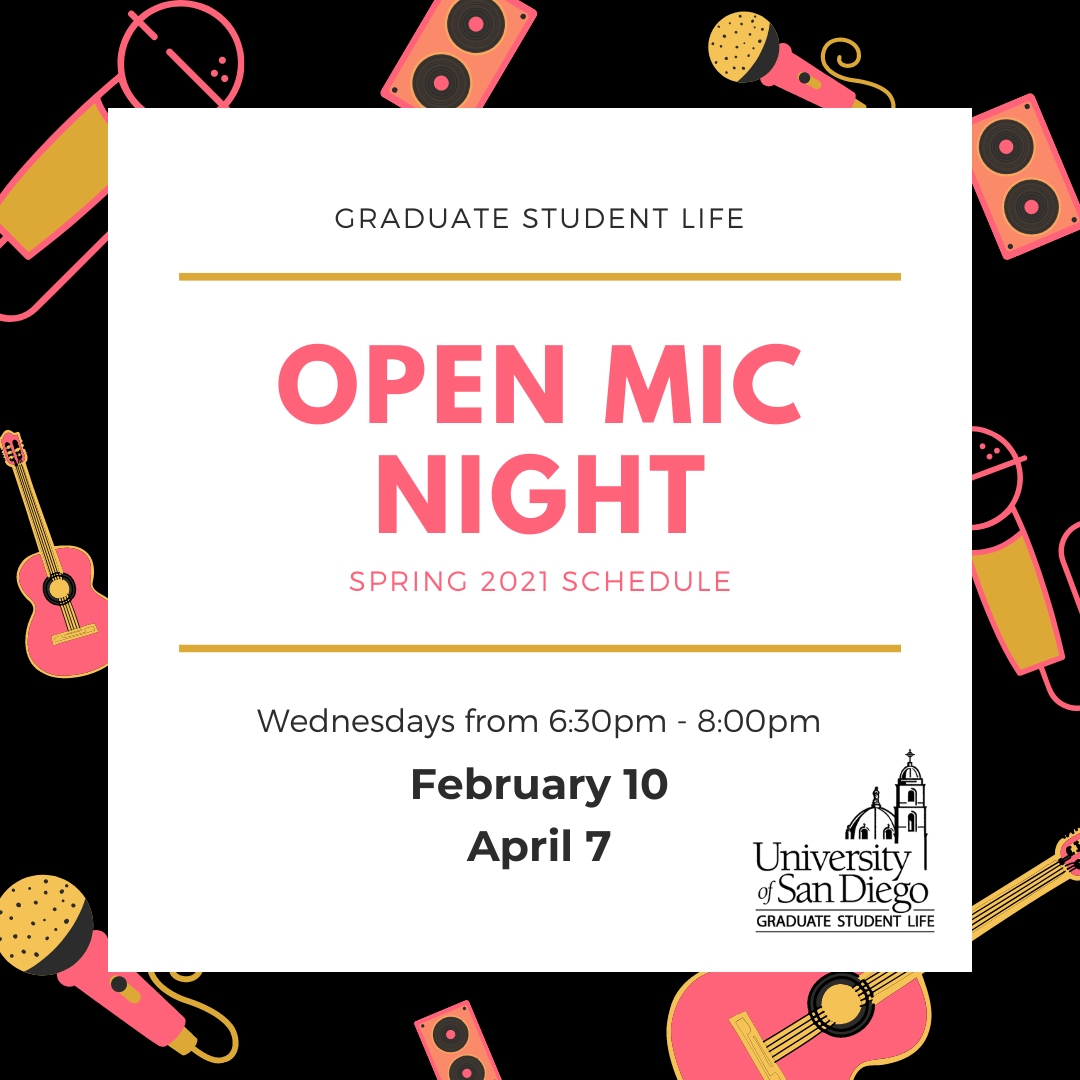 Decorative flyer: black background with bright instruments, mics, and speakers, white square with black and bright text