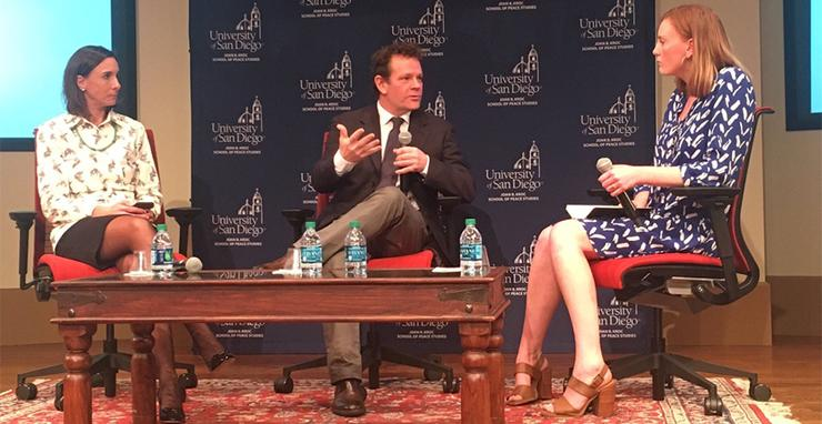 New York Times journalist and author David Bornstein, speaking about how social innovation can change the world, was joined by USD Kroc School Dean, Patricia Marquez, and USD senior Charlotte Vitak.