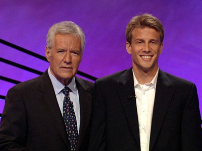 Jacob Ayres with Alex Trebek on Jeopardy