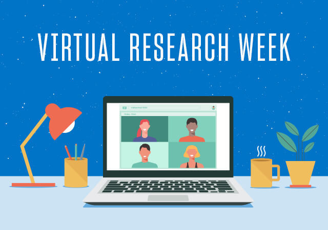An animated computer screen showing a virtual meeting with Research Week text