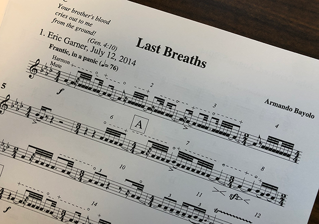 "Picture of the score for Armando Bayolo's composition ""Last Breaths"""