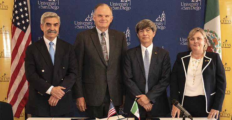 USD School of Business Dean Jaime Gomez, USD President James T. Harris, CETYS President Fernando Leon and CETYS Graduate Business Dean Monica Lopez took part in a signing ceremony for the MSGL degree.