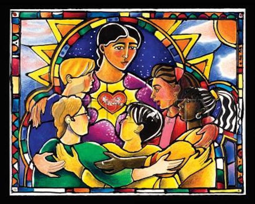artwork by Brother Mickey showing people in a circle holding each others arms
