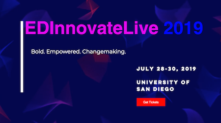 EdInnovateLive 2019 conference banner at the University of San Diego