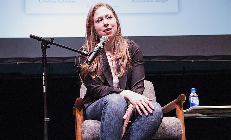 Author Chelsea Clinton, daughter of former President Bill Clinton and former Secretary of State Hillary Clinton, answers a question about her children's book Thursday at an event in Shiley Theatre.