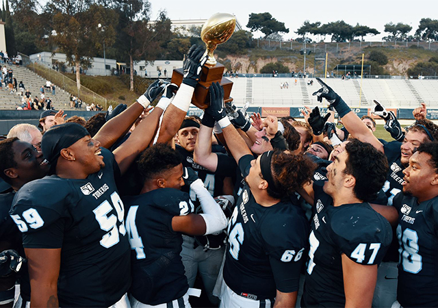 The USD football team defeated Morehead State 52-20 to clinch its sixth straight Pioneer Football League title and a berth in the FCS playoffs.