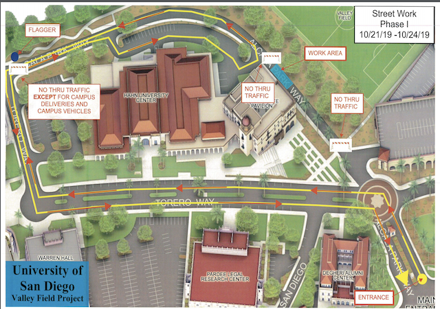 Map of Alcala Park Way from the main entrance to the center of campus