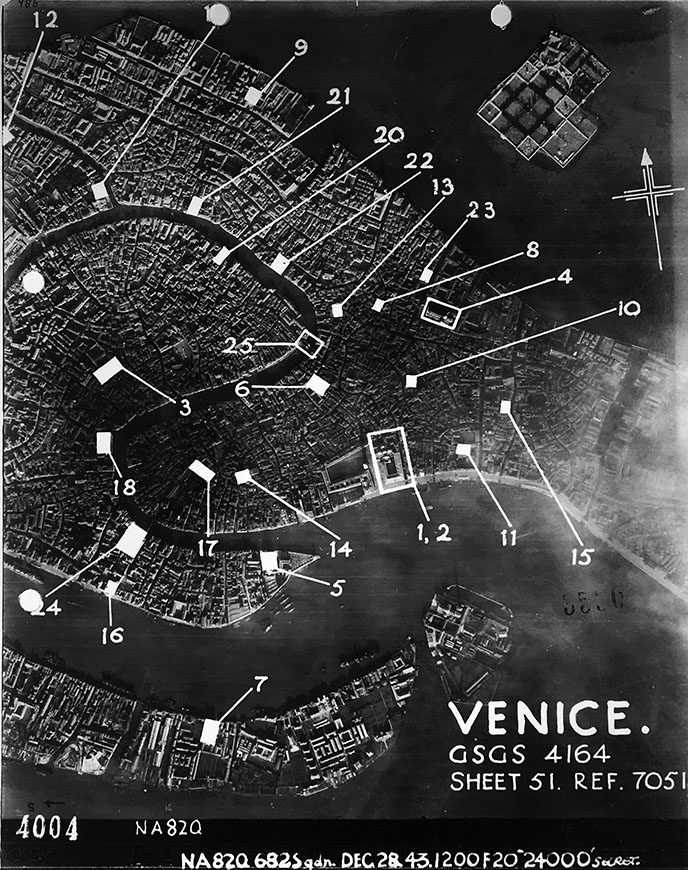 Allied Air Forces, Aerial Map of Venice with monuments marked, 1944