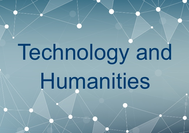 blue background with white lines that have circles on the connections with text that reads Technology and Humanities